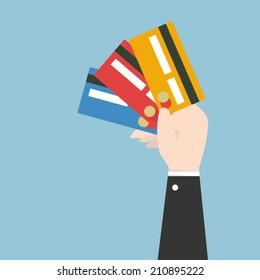 Businessman hand holding credit card , eps10 vector format, flat design