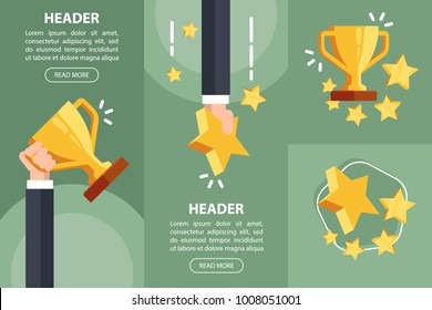 Businessman hand holding gold cup award.Concepts of first place champion trophy reward.Success and business goals. Winner holding award.Flat vector illustration on green background