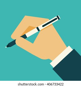 Businessman Hand holding pen for writing. Flat design. Vector illustration.