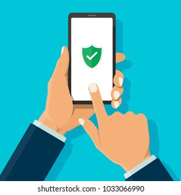 Businessman hand holding smartphone and finger touch and scan on screen with green shield and white check mark on screen. Mobile security concept. Vector and illustration modern flat design.