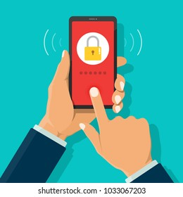 Businessman hand holding smartphone and touch on screen for try to login to phone by fingerprint scan and screen showing invalid password and locked. Phone security with finger scan when stolen.