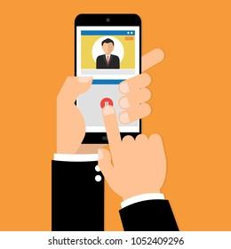 Businessman hand holding smartphone video live streaming on internet online network. Vector illustration. Vector illustration influencer social media ads digital marketing concept.