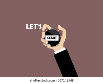 businessman hand holding stopwatch with text let's start