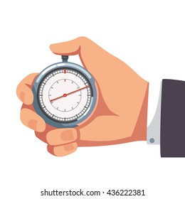 Businessman hand holding thumb finger on chrome stopwatch with seconds arrow. Flat style vector illustration clipart.