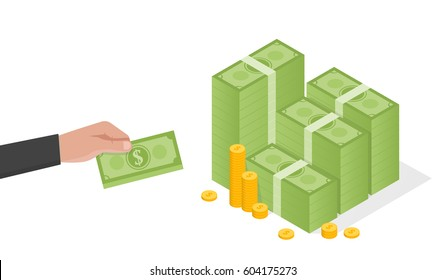 Businessman hand holds a stack of green dollars money vector illustration.