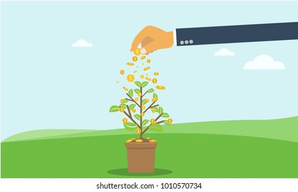 Businessman hand investing money coin tree with can. growth, investment concept with flat and solid color style.