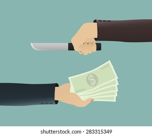 a businessman hand out  the money to robber
