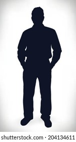 Businessman with hand in pocket silhouette