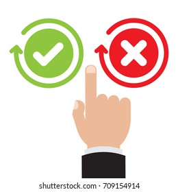 Businessman hand point to Green check mark and red X mark Right and Wrong for feedback. Cartoon flat vector illustration business concept.