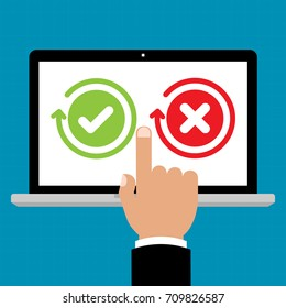 Businessman hand point to laptop computer for Green check mark and red X mark Right and Wrong for feedback. Cartoon flat vector illustration business online network concept.