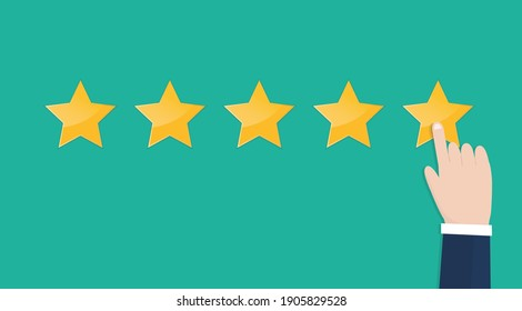 Businessman hand pointing five stars rating on green background. Increase rating, ranking, review. Vector illustration