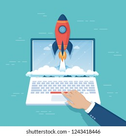 Businessman hand pushing the button to launch rocket from laptop screen. Business project startup, financial planning, idea, strategy, management, realization, success. Vector