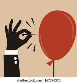 Businessman hand pushing sharp needle to pop the balloon. Abstract business concept on risk or dangerous situation.