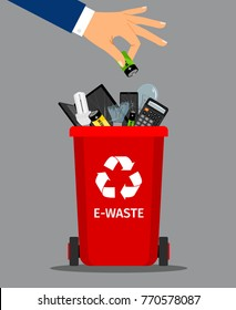 Businessman hand put battery in office trash recycle bin for garbage, vector illustration