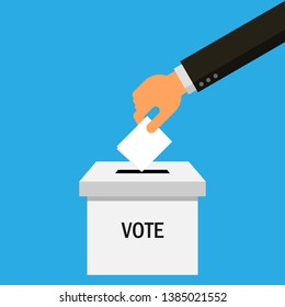 businessman hand puts vote ballot in box Isolated on blue background. Vector Illustration.