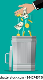 Businessman hand putting dollar bills in trash. Losing or wasting money, overspending, bankruptcy or crisis. Vector illustration in flat style