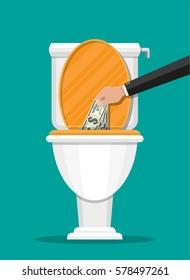 Businessman hand putting dollar bills in toilet. Losing money. Vector illustration in flat style