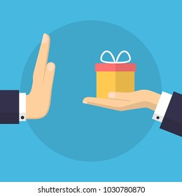 Businessman Hand Refusing The Offered Gift Vector Illustration. Flat Design Style. Business Concept. Corruption, Dishonesty