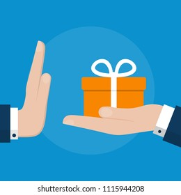 Businessman Hand Refusing The Offered  Gift Box. Flat Design Style Illustration. Business Concept