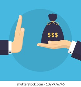 Businessman Hand Refusing The Offered Money in Bag Vector Illustration. Flat Design Style. Business Concept. Corruption, Dishonesty
