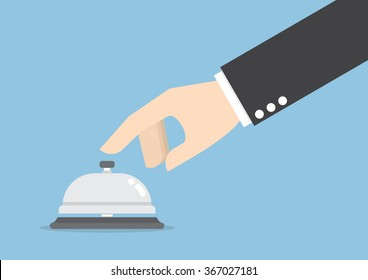 Businessman hand ringing in service bell , VECTOR, EPS10