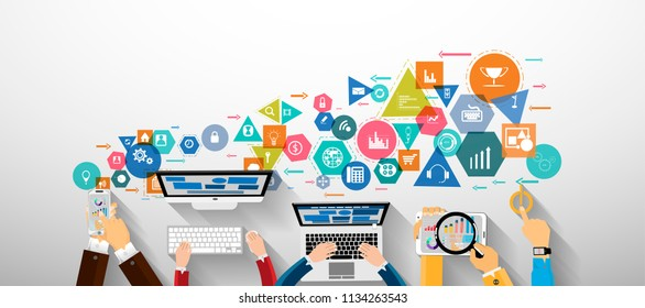Businessman Hand - Technology Communication - Computer,Mobile Phone, Tablet, Laptop and Geometry, Colorful, icon - modern Idea and Concept Vector illustration.