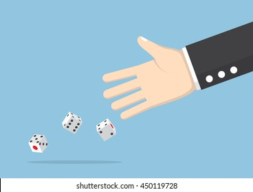 Businessman hand throwing dice, take a chance, gambling and business risk concept