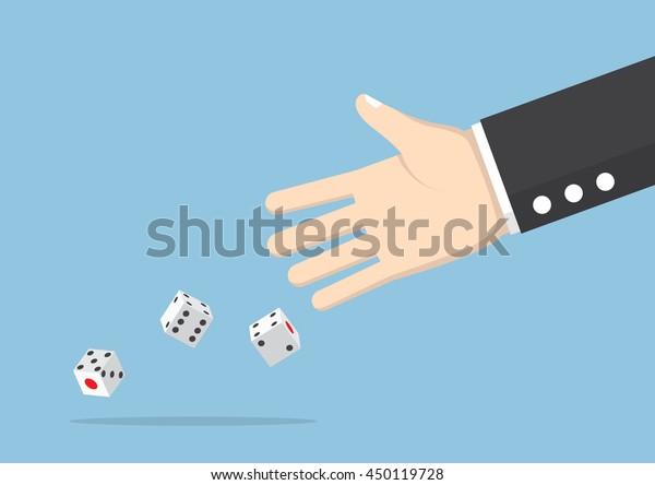 Empresario tirando dados, arriesgar, apostar y el concepto de riesgo de negocio