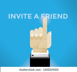 Businessman hand touching Invite a friend word. Idea - online messaging, communication, friendship and negotiations, social media networking services in modern business.
