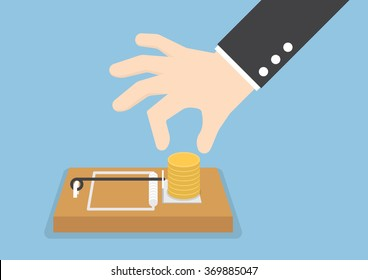 Businessman hand try to pick money from mousetrap, VECTOR, EPS10