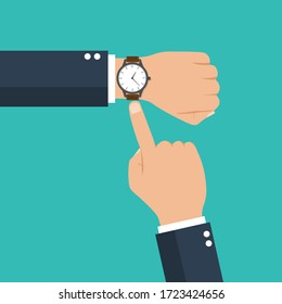 businessman hand with a watch on the wrist. business concept with  checking time. time is money. symbol of deadline work. isolated on blue background. vector illustration modern flat design.