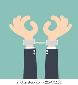 businessman handcuffed hands