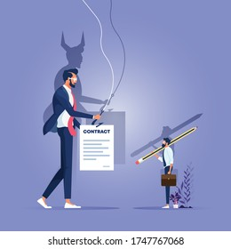 Businessman handling a contract to customer and his shadow showing a satan