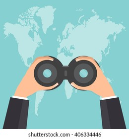 Businessman hands with binocular looking the world map. Vector illustration flat design business concept.