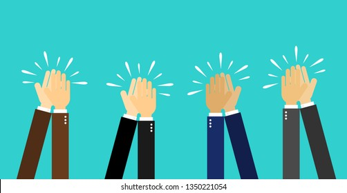 businessman hands clapping. people applaud hands Isolated on blue background. vector Illustration.