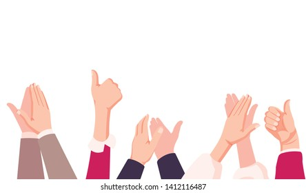 businessman hands clapping. people applaud hands Isolated on blue background. vector Illustrationisolated on white