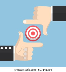 Businessman hands forming a frame and focus on target, business target concept