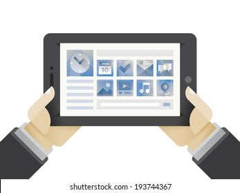 Businessman hands holding internet tablet with multimedia icons - Calendar, Clock, Tasks, E-Mail, Chat and Messages, Photos, Video and Films, Music, Maps and Navigation.