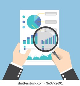 Businessman hands holding a magnifying glass and analysing the data, Data analysis concept, VECTOR, EPS10