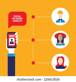 Businessman hands holding mobile smart phone with web icons. Stay in touch, social network and e-commerce, successful business concept. Vector illustration