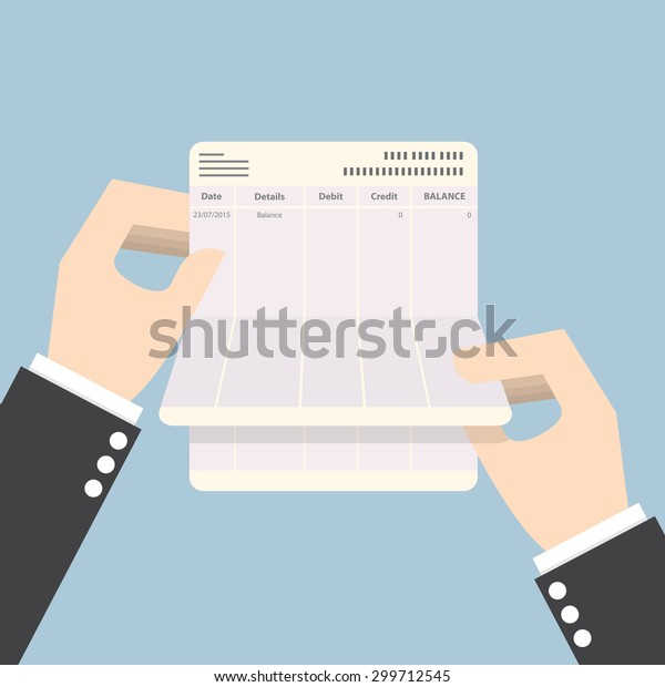Businessman hands holding passbook with no balance, VECTOR, EPS10