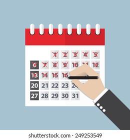 Businessman hands mark on the calendar, VECTOR, EPS10