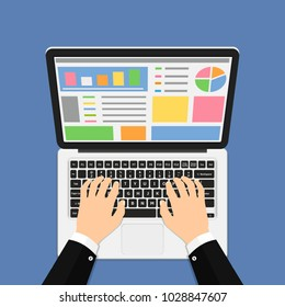 Businessman hands on laptop keyboard. Flat style vector illustration.