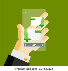 Businessman hands on mobile phone with web dialog box. Communication, mobility or internet service concept