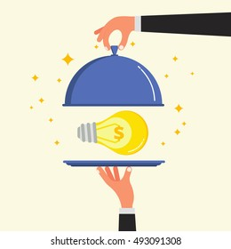 Businessman hands opening cloche lid cover with light bulb on plate. Lamp as metaphor for business idea, startup project or innovation concept. Flat style vector illustration.