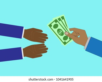 Businessman hands paying money concept,vector illustration