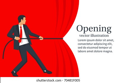 Businessman hands pull rope red cloth. Grand opening concept. Vector illustration flat design. Isolated on white background. Ceremony, celebration, presentation and event.