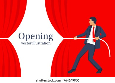 Businessman hands pull rope red cloth. Grand opening concept. Ceremony, celebration, presentation and event. Vector illustration flat design. Isolated on white background.