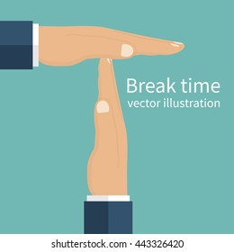 Businessman hands signaled a break from work. Gesture hands time-out isolated . Vector illustration flat design style. Symbolizing a break.