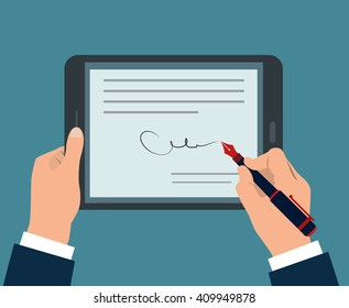 Businessman Hands signing Digital signature contract on tablet. Vector illustration in flat design for business concept can be used in many topic like corporation, transaction, agreement, security.